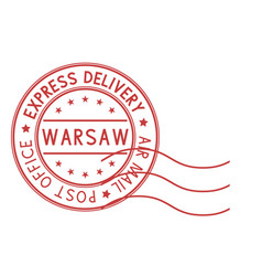 Round red postmark warsaw poland express vector