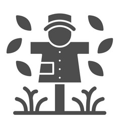 Scarecrow solid icon garden doll vector