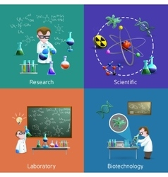 Scientists In Lab Icons Set vector