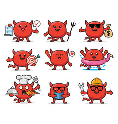 set cute devil character design vector image