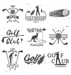 Set golf club concept with golfer silhouette vector