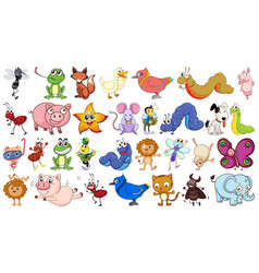 set simple animal character vector image