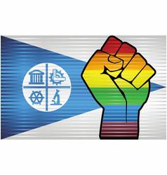 Shiny lgbt protest fist on a minneapolis flag vector