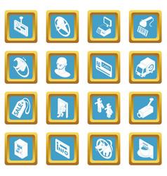 Shop navigation foods icons set sapphirine square vector