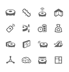 Simple Robot Cleaner Icons vector image