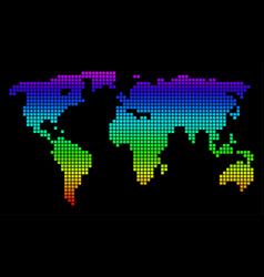 spectrum pixel dotted world map vector image