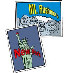 statue liberty new york city rushmore usa vector image