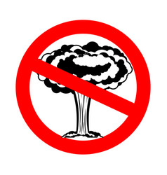 Stop war nuclear explosion is prohibited red vector
