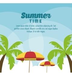 Summer design palm tree and umbrella icon vector image vector image