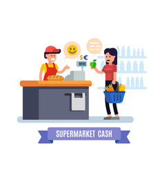Supermarket girl at the cash register supermarket vector