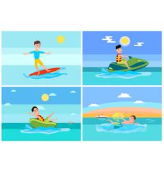 surfing summer sport set vector image
