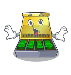 Surprised cash register with lcd display cartoon vector