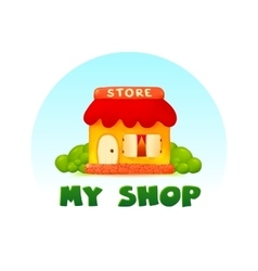Tiny little shop image in cartoon style vector image