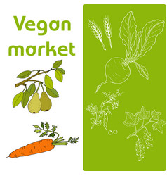 vegan farmer market card set with fresh vegetables vector image