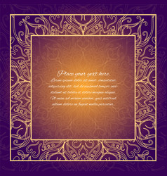Vintage border lace invitation card with mandala vector
