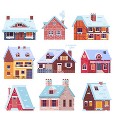 Winter houses and cottages set vector