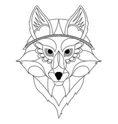 wolf head - ethnic stylized vector image