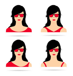 woman head with red sunglasses set vector image