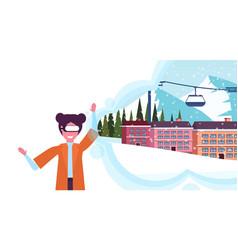 Woman wearing digital glasses virtual reality ski vector