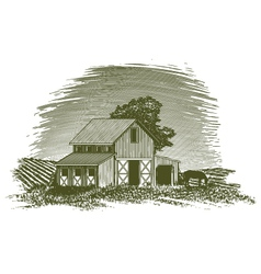 Woodcut horse barn vector