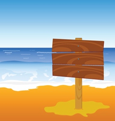 Wooden board on the beach vector