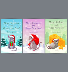year mouse cute christmas greeting cards vector image