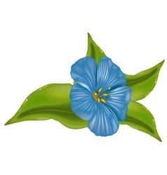 Blue Flower With Leafs vector image vector image