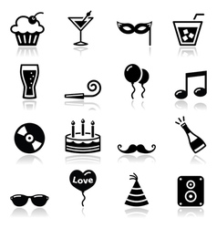 Party icons set New Year Xmas vector image vector image