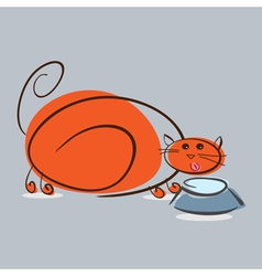 Plump red cat drinking milk eps10 vector image