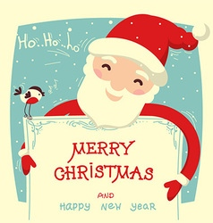 Santa Claus holds christmas card with text vector image vector image