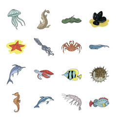 sea animals set icons in cartoon style big vector image