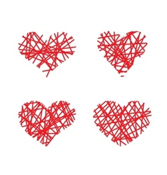 Set of hand drawn lined hearts vector image vector image