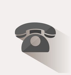 classic phone icon with shadow on a beige vector image vector image