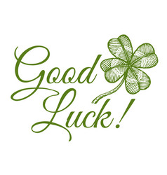 clover and text good luck vector image vector image