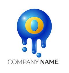 o letter splash logo blue dots and bubbles letter vector image vector image