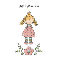 cartoon princess girl cartoon princess girl vector image vector image