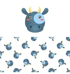 Cow Head Icon And Pattern vector image vector image