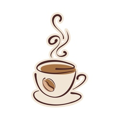 Cup of hot coffee and coffee bean vector image vector image