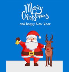 merry christmas happy new year poster santa deer vector image vector image