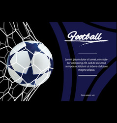 realistic soccer ball in net isolated on black vector image vector image