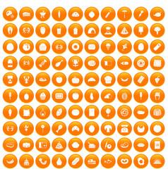 100 favorite food icons set orange vector image vector image