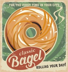 Bagel bakery vintage poster design vector image