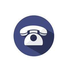 classic phone icon with shadow on a dark blue vector image vector image