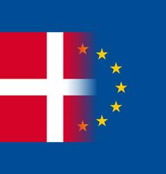 Denmark national flag with a star circle of eu vector