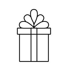 gift box ribbon linear bow vector image vector image