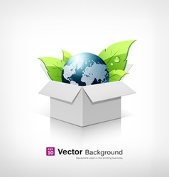 Globe and leaf on open white box vector image