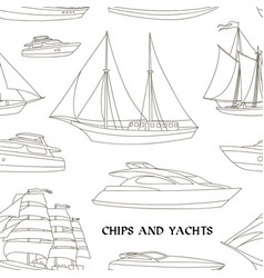 ships and yachts pattern vector image