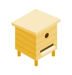 Wooden beehive isometric 3d icon vector image