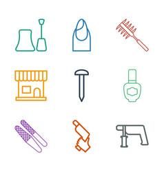 9 nail icons vector image