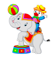 a boy uses a clown costume with an elephant while vector image